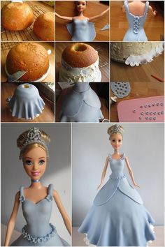 Always nice to see diff looks for a doll cake. They all start to look the same! These Doll Cake Tutorials are Simply Fantastic Barbie Torte, Bolo Barbie, Barbie Cake, Barbie Doll, Doll Cake Tutorial, Fondant Tutorial, Fondant Cakes, Cupcake Cakes, Fruit Cakes
