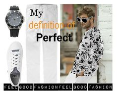 My Fashion Collection is made to feel Good'      *See  100 more looks'               Feel Good Fashion @ www.marijkeverkerkdesign.nl   Men's white pants trousers, men's longsleeve fashion shirt blouse,  white denim converse low tops sneakers, sporty wristwatch, denim designer sunglasses