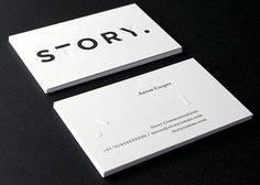 Story Business Card - Black & White, embossed.