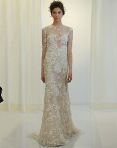 Angel Sanchez sheer floral applique wedding dress from Spring 2016
