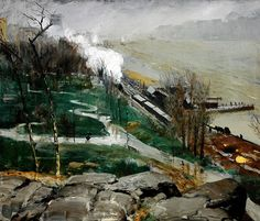 """""""Rain on the River,"""" George Bellows, 1908, oil on canvas, 32 3/8 x 38 1/4"""", Rhode Island School of Design Museum."""