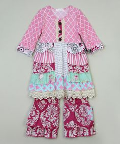 Love this Rose Quatrefoil Tunic & Ruffle Pants - Infant, Toddler & Girls on #zulily! #zulilyfinds