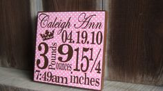 Personalized Birth Announcement BlockGirl click by heathere2844, $10.45