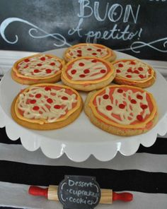 Pizza decorated cookies at a pizza birthday party! See more party planning ideas at CatchMyParty.com!