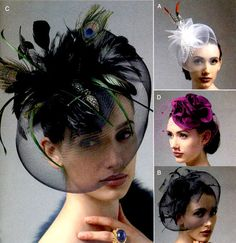 Fascinator Hats Pattern Vogue V8868 Womens Millinery Sewing Pattern Crinoline Feather Rosette Netting UNCUT