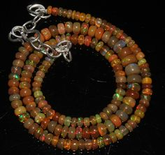 """48 Crts 1 Necklace 4to6mm 16"""" Beads Natural Ethiopian Welo Fire  Opal  63531"""