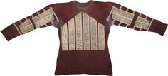 """Circa 1930s Wilson Football Jersey. Beautiful 1930s-era Wilson football jersey is well-worn with evidence of staining and abrasions throughout. The maroon jersey with white sleeve stripes has also been fitted with panels along on the chest and arm that were designed to help with gripping the football. Jersey verso is highlighted by a felt """"26"""" that has been applied there. $537"""