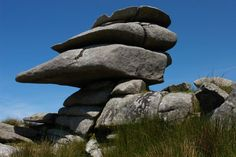 One of the tors near Cheesewring Quarry on Bodmin Moor, Cornwall, England. This fantastic granite rock formation is entirely natural, formed by weathering and erosion.