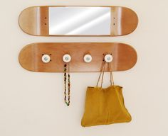 Double Rock, SKATEBOARD pivot grind COAT RACK & manual MIRROR by SKATE-HOME