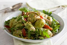 """""""Using everyday foods like potatoes doesn't have to be boring. This warm potato salad is a great example of just how tasty they can be. Chicken Potato Salad, Chicken Potatoes, Pesto Chicken, Carnation Milk Recipes, Vegetarian Recipes, Cooking Recipes, Creamy Pesto, Rabbit Food, How To Cook Chicken"""