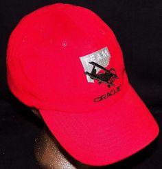 Team Oracle BiPlane Air Show Acrobatic Airplane Red Baseball Hat Cap Sean Tucker