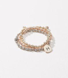 $24.50 + 50% Off (coupon code click) 'H' Initial Stretch Bracelet Set, Ann Taylor Loft