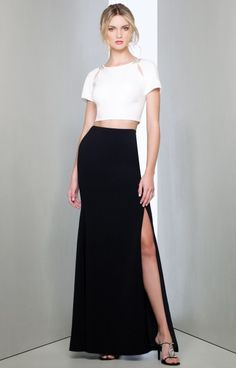 Mignon - Two piece dress featuring cutout short sleeves with bead accented shoulders, full length skirt with slit. Champagne Evening Dress, Black Evening Dresses, Black Prom Dresses, Prom Dresses Online, Dressy Dresses, Red Carpet Dresses, Fall Dresses, Beautiful Dress Designs, Beautiful Dresses