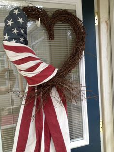 Here are over 40 gorgeous patriotic DIY dollar store of July Wreaths that are the perfect addition to your front door for Independence Day. Patriotic Wreath, Patriotic Crafts, July Crafts, Holiday Crafts, Diy And Crafts, Americana Crafts, Patriotic Party, Primitive Crafts, Wreath Crafts
