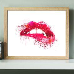 SALE! Pink Lip Watercolor Print, dorm wall art, dorm decor, Lipstick Chic Wall Art, Kiss Print,Fashion Illustration,Fashion Lips Art …