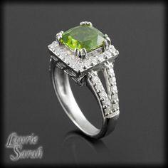 Platinum Triple Prong Set Peridot Engagement Ring with Diamond Halo and Split Shank - LS2709