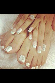 Wedding manicure and matching pedicure  design idea. Wedding nails
