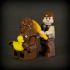 Rare footage of Lego Chewbacca and Han getting ready before the ceremony at the end of A New Hope.
