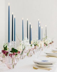 """4,833 Likes, 40 Comments - Style Me Pretty (@stylemepretty) on Instagram: """"You don't have to go over-the-top to make a statement with your tablescapes! Tall taper candles and…"""""""