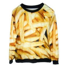 French Fry 3d Sweater Fries Unisex Fast Food Fashion Sweatshirt Women... ($30) ❤ liked on Polyvore featuring tops, hoodies, sweatshirts, silver, women's clothing, pattern tops, patterned sweatshirts, sweat tops, print top and sweat shirts