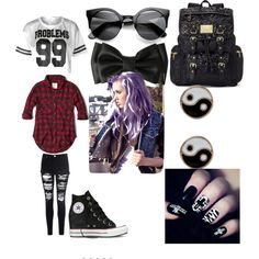 Urban Edge by bria-starling on Polyvore featuring polyvore fashion style Abercrombie & Fitch Glamorous Juicy Couture Accessorize Converse