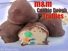 Will have to make these on my sweet day!  M Cookie Dough Truffles.  A cookie dough lovers dream come true!
