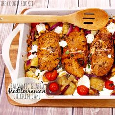 Balsamic Glazed Mediterranean Chicken Bake, EASY, healthy and delicious!