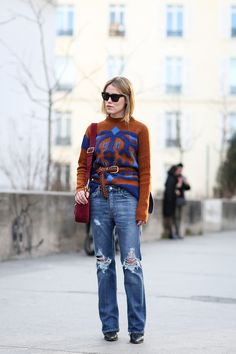 84 Outfit Ideas For Style Extroverts #refinery29  http://www.refinery29.com/2015/03/83675/paris-fashion-week-2015-street-style#slide-26  Consider wearing your belt on top of your sweater — for a trick that feels wrong, but looks right.