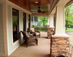 soft green siding, off-white trim, stone Home Construction, Shingle Siding, Outdoor Decor, White Exterior Houses, House, Hardie, Custom Porch, House Trim, Green Siding