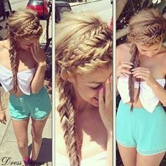 really pretty braid, just two french braids next to each other ,braid it down into two braids then bobby pin the ends of the braid and you will get this. Try this out ,you wont regret it