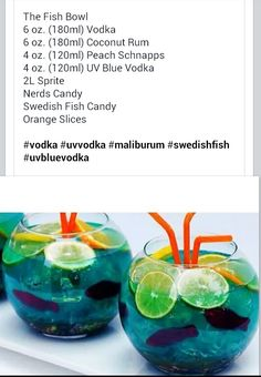 Fish bowl party alcoholic drink
