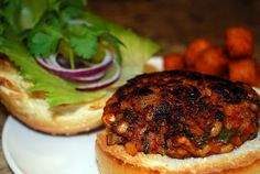 "A Southwestern Barley Mushroom Burger!  Easy and delicious.  No hidden ""pink slime"" in here."