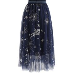 Chicwish Myth Of Stars Mesh Tulle Midi Skirt in Navy ($47) ❤ liked on Polyvore featuring skirts, mid-calf skirt, navy skirt, navy blue knee length skirt, navy midi skirts and tulle skirt