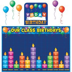 Teacher Created Resources 5335 Birthday Graph Bulletin Board: Celebrate birthdays and graph information about them. Find additional tips in the teacher's guide. Birthday Graph, Birthday Chart Classroom, 1st Birthday Signs, Birthday Bulletin Boards, Birthday Wall, Preschool Bulletin Boards, Preschool Birthday Board, Birthday Charts For Kindergarten, Happy Birthday