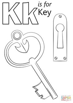 Letter K Coloring Pages Inspirational Letter K is for Key Coloring Page Pokemon Coloring Pages, Alphabet Coloring Pages, Alphabet Book, Free Printable Coloring Pages, Coloring Pages For Kids, Coloring Sheets, Letter K Crafts, Key Crafts, Preschool Letters
