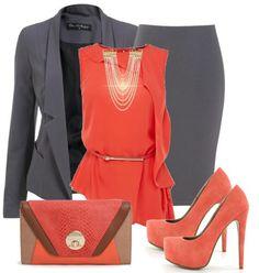 Gray & orange Sunday attire