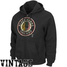 Majestic Chicago Blackhawks Black Built Tough Full Zip Hoodie Sweatshirt