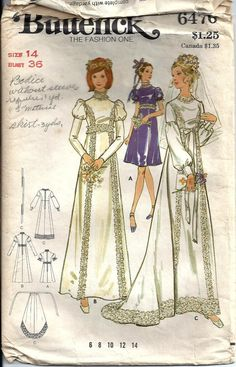 VTG 1970's Bridal Dress with Separate Train by DawnsDesignBoutique, $6.00