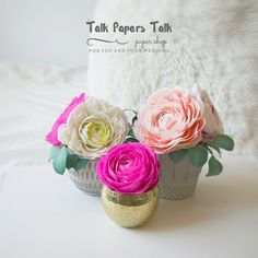 Glass cabochon brooch pins by Annie T by TalkPapersTalk Crepe Paper Flowers, Ranunculus, Flower Arrangements, Etsy Seller, Wedding Decorations, Place Card Holders, Create, Pink, Ideas