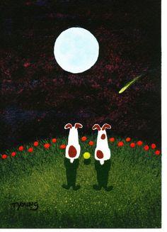 Jack Russell Terrier Dog Original folk Art от ToddYoungArt на Etsy, $49.95