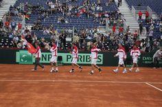 Equipo Austria entrando en pista. Copa Davis. Cuartos de Final 2012. España vs. Austria