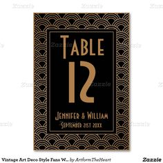 Vintage Art Deco Style Fans Wedding Table Number Table Card
