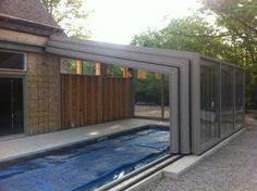 Retractable Pool Enclosures Open.... with a push of a button - modern - swimming pools and spas - other metro - Covers in Play