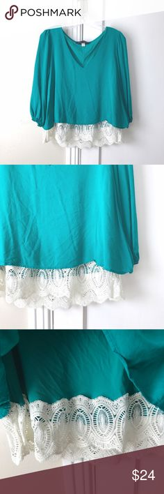 Francesca's | Teal and White Lace Trim V-neck Top Perfect condition from Francesca's Collection. V-neck teal lined top with extender lace. So beautiful and bright! Francesca's Collections Tops Blouses