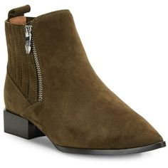Sigerson Morrison Bambi Leather Point-Toe Ankle Boots ($350) ❤ liked on Polyvore featuring shoes, boots, ankle booties, olive, leather boots, bootie boots, pointy-toe ankle boots, pull on leather boots and ankle boots