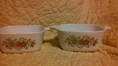 this is for two small casserole dishes for Range, Oven and Microwave Corning Ware Spice of Life pattern 2 3/4 cup P-43-B Corning.NY.USA.22282.MA Free Ship in the US only. International shipping Charges will be calculated and charged prior to shipping any purchase. Thank you.
