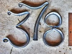 Forged Street Numbers by Metal Projects, Welding Projects, Metal Crafts, Horseshoe Crafts, Horseshoe Art, Diy Forge, Blacksmith Forge, Metal Bending, Blacksmith Projects