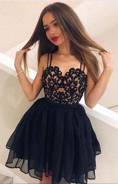 Black sweetheart neck short prom dress, black homecoming