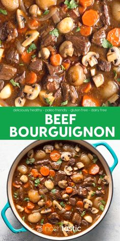 Beef Bourguignon Recipe A Weeknight Version Of Julia Child's Classic French Beef Stew Which Is Braised In Red Wine With Fall Apart Tender Chunks Of Beef. With Slow Cooker, And Oven Braising Options, Gluten Free Recipe. Low Carb Beef Stew, Slow Cooker Beef, Slow Cooker Recipes, Cooking Recipes, Beef Stew Paleo, French Beef Stew Recipe, Crockpot Recipes Gluten Free, Oven Beef Stew, Beef Stew Crockpot Easy
