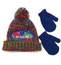 DC Comics Batman Toddler Girls Pom Pom Beanie Hat /& Mittens Set 2T-4T, Purple